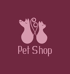 Cute pet shop logo with cat and dog vector