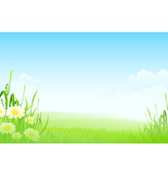 Green landscape with clouds flowers vector