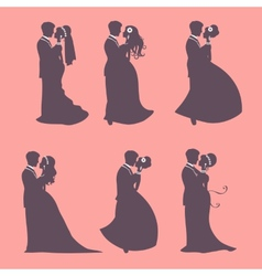 Six wedding couples vector