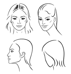 Four woman outline faces vector