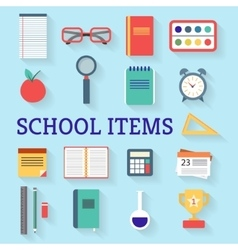 School studying icon set vector