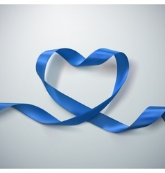 Blue ribbon heart vector