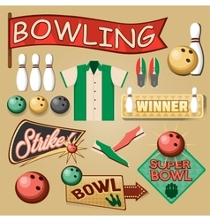 Bowling equipment set bowling icons collection vector