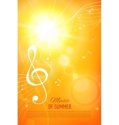 Yellow background with music notes and key vector
