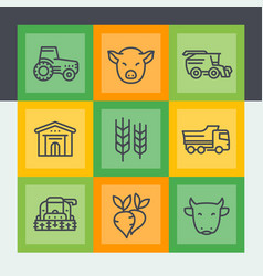 Agriculture and farming line icons set vector
