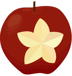 An apple with a carved star isolated red apple on vector