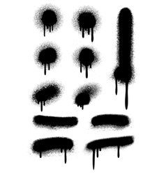 Black spray paint with drips isolated on white vector image vector image