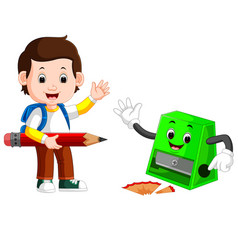 boy holding big pencil and sharpener vector image vector image