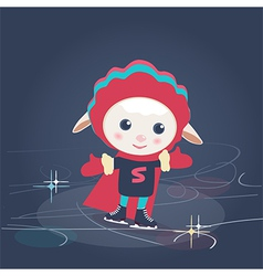 Cartoon sheep in super hero outfit ice skating vector