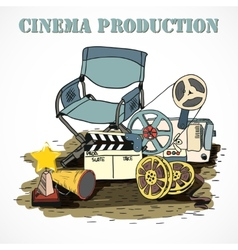 Cinema production decorative poster vector image vector image