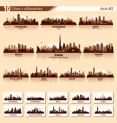 city skyline set 10 silhouettes of asia 2 vector image