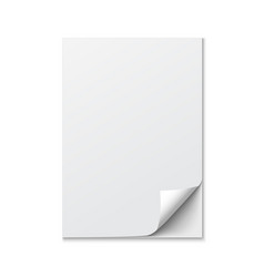 close up of a paper with curled edge on white vector image vector image
