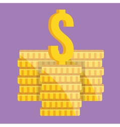 Coin stacks and dollar sign icon vector