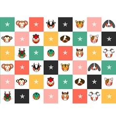 Colorful Chinese Zodiac Chess Board Background vector image vector image