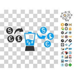 Currency mixer icon with bonus vector