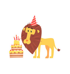 cute cartoon lion in a party hat and birthday cake vector image vector image