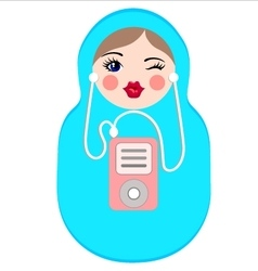 Cute matryoshka with mp3 player vector
