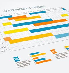 Gantt progress line vector