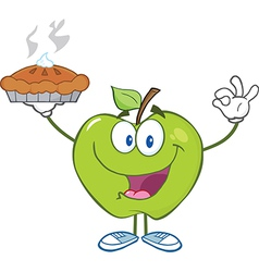Happy Green Apple Character Holding Up A Pie vector image
