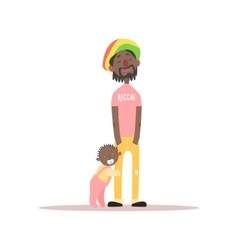 Jamaican father and baby vector