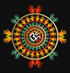 Mandala made with hands and indian om sign vector