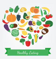 Organic food fruits and vegetables healthy vector