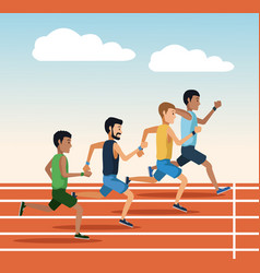 people running on track vector image