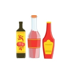 Set of three industrial sauces in plastic bottles vector