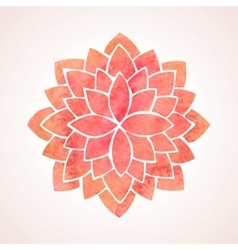 Watercolor red flower pattern mandala vector