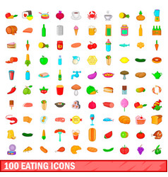 100 eating icons set cartoon style vector