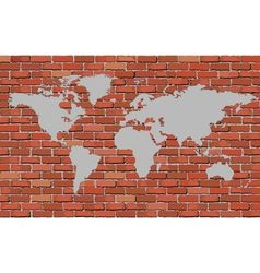 World map on a brick wall vector