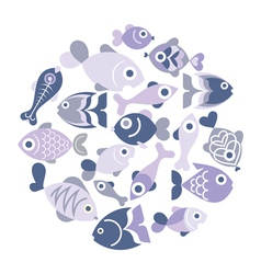Blue fishes vector