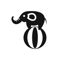 Elephant balancing on a ball icon simple style vector