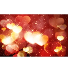 Red golden valentines day bokeh shiny vector