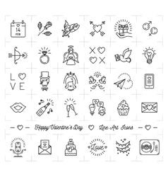 Valentine icon set flat design line thin style vector