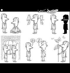 business cartoons set vector image