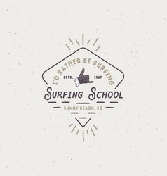 Surf school emblem in unique retro style best for vector