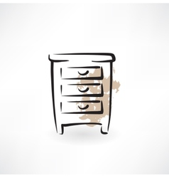 Nightstand grunge icon vector