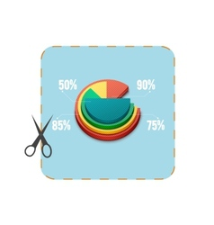 Icon of coupon cutout with business pie chart vector