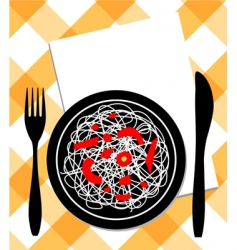 spaghetti on plate vector image