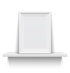 Realistic picture frame on white shelf vector