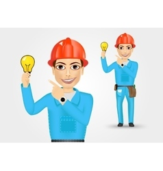Electrician or mechanic pointing to a lamp vector