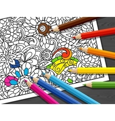 Adult coloring concept with pencils printed vector