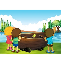 Children standing next to the boat vector