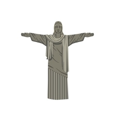 Jesus christ monument in brazil vector