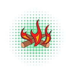 Camp fire icon comics style vector