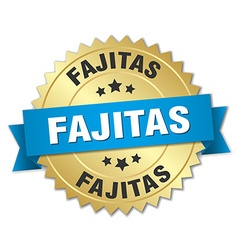 Fajitas 3d gold badge with blue ribbon vector