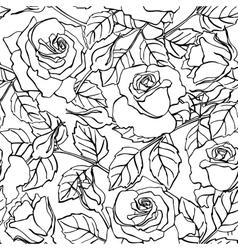 Delicate line rose pattern vector