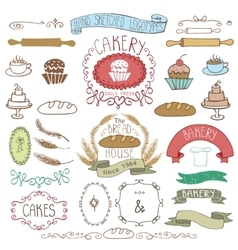 Vintage bakery labels element sethand sketched vector