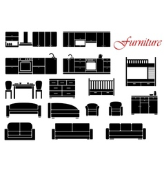 Assorted home furniture set vector image vector image
